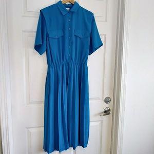 Vintage Leslie Fay Blue pleated dress